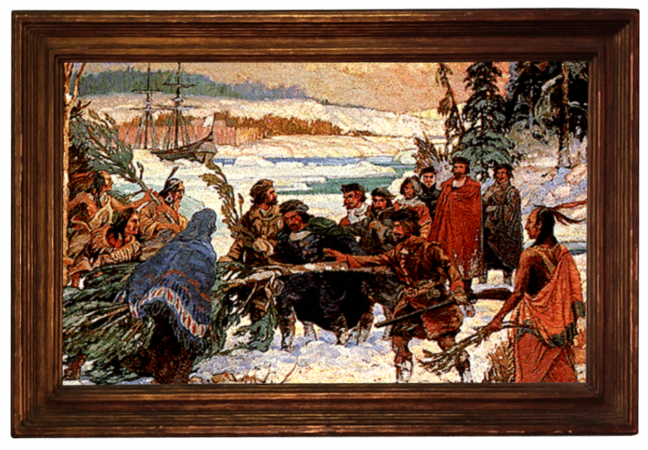 Indians sharing the TruPine recipe with Jacques Cartier